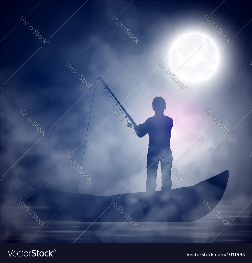 Night fishing vector | Price: 1 Credit (USD $1)