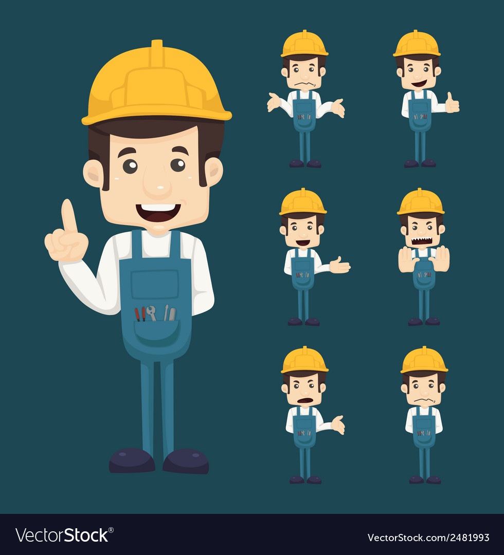 Set of engineer characters poses vector   Price: 1 Credit (USD $1)