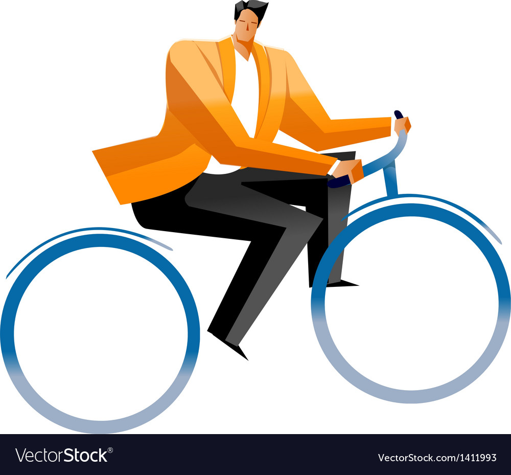 Side view of man sitting on cycle vector | Price: 1 Credit (USD $1)