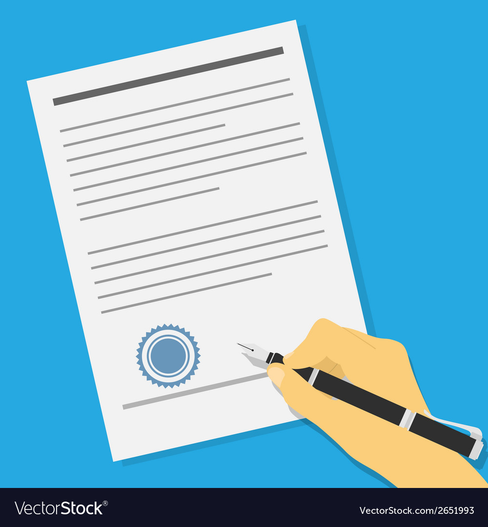 Signing contract vector | Price: 1 Credit (USD $1)