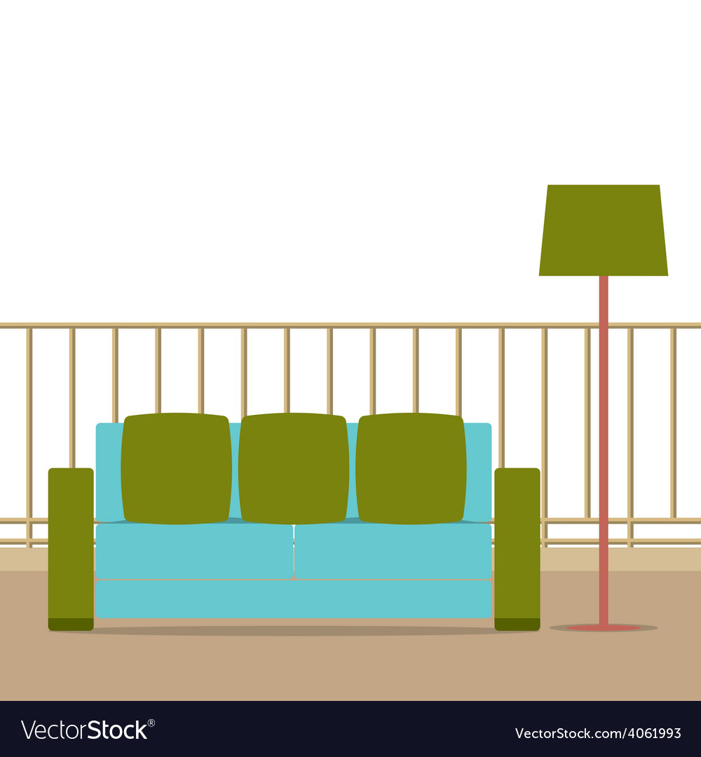 Sofa with modern lamp on balcony vector | Price: 1 Credit (USD $1)