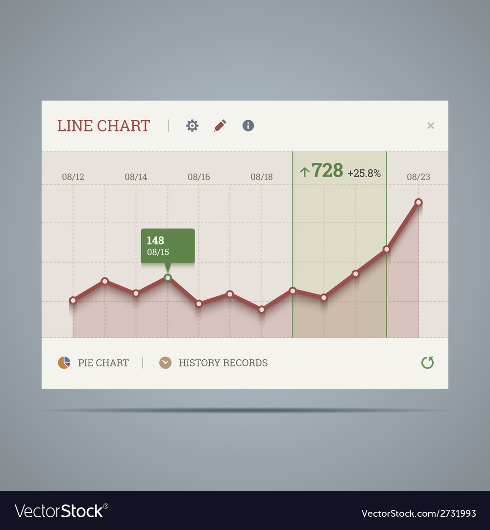 Widget with growing line chart and icons vector | Price: 1 Credit (USD $1)