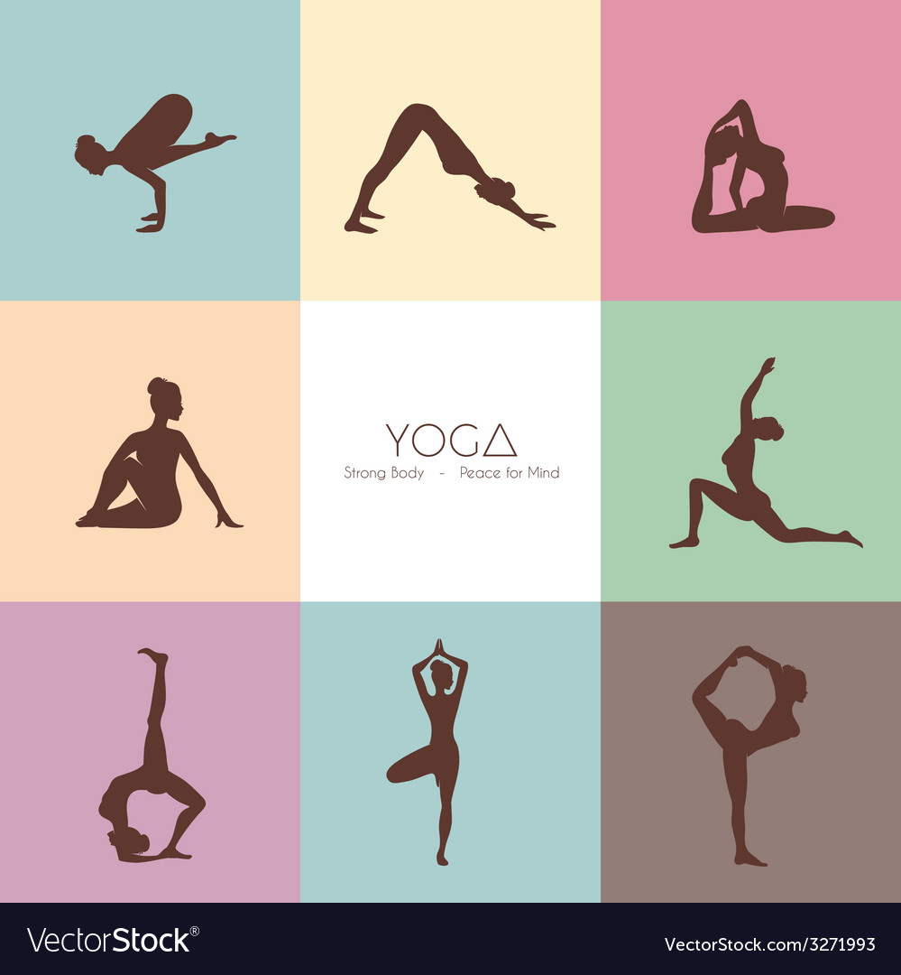 Yoga poses womans silhouette vector | Price: 1 Credit (USD $1)