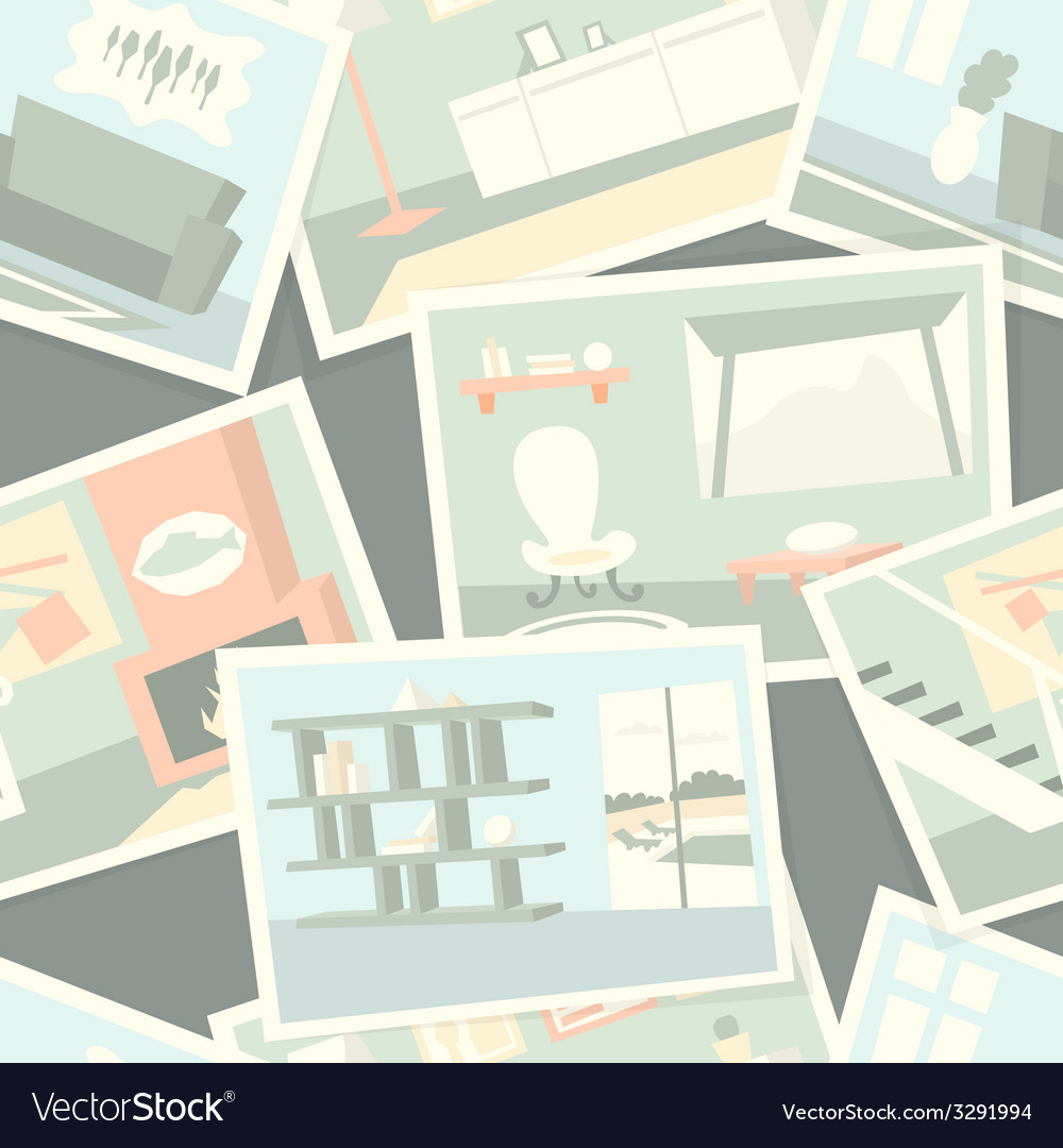 Pattern with home interior photos vector | Price: 1 Credit (USD $1)
