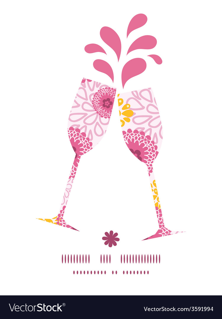 Pink field flowers toasting wine glasses vector | Price: 1 Credit (USD $1)