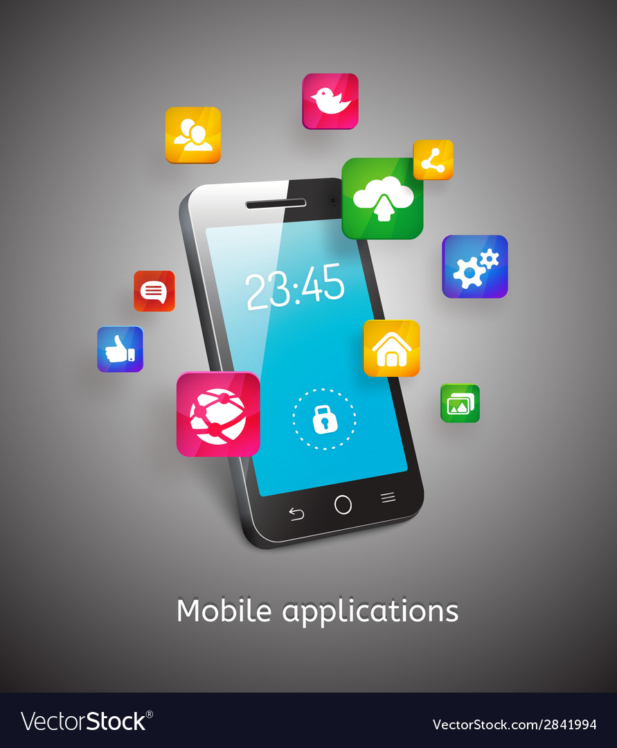 Smartphone with clouds and app icons vector | Price: 1 Credit (USD $1)