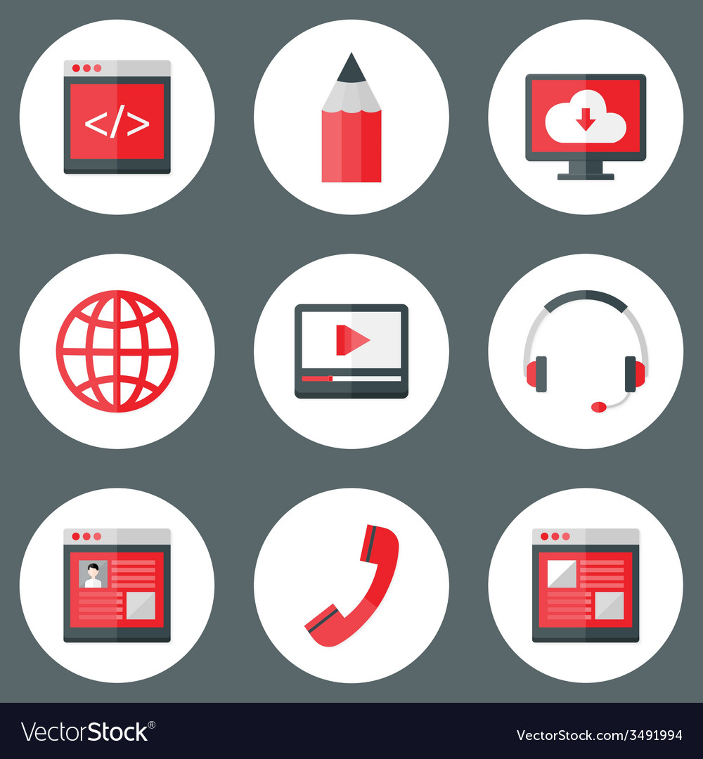 Website white and red icons set vector | Price: 1 Credit (USD $1)