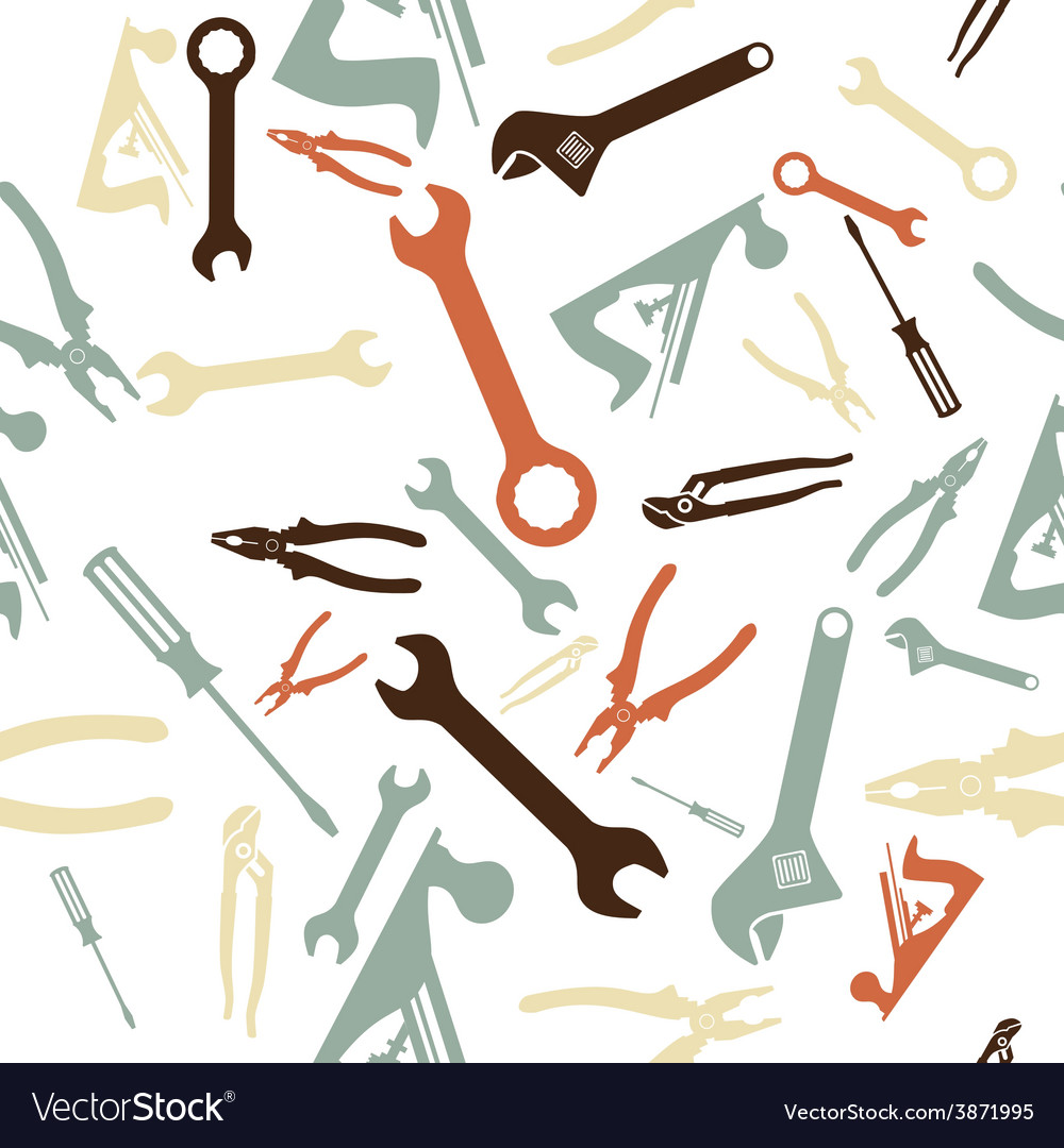 Abstract seamless hand tools pattern vector | Price: 1 Credit (USD $1)