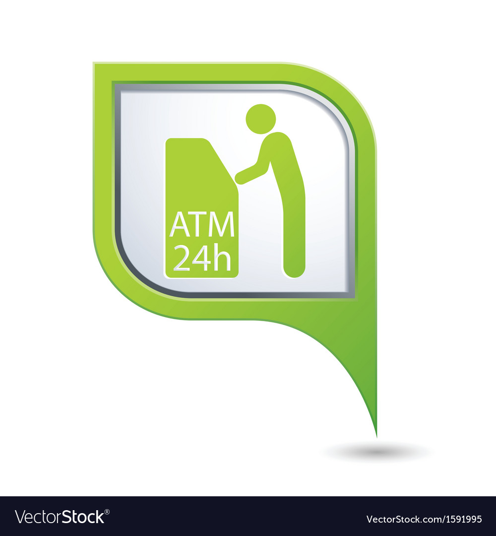 Atm icon on green map pointer2 vector | Price: 1 Credit (USD $1)