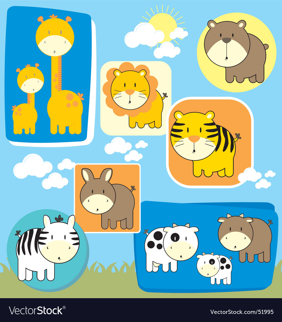 Baby animals set vector | Price: 1 Credit (USD $1)