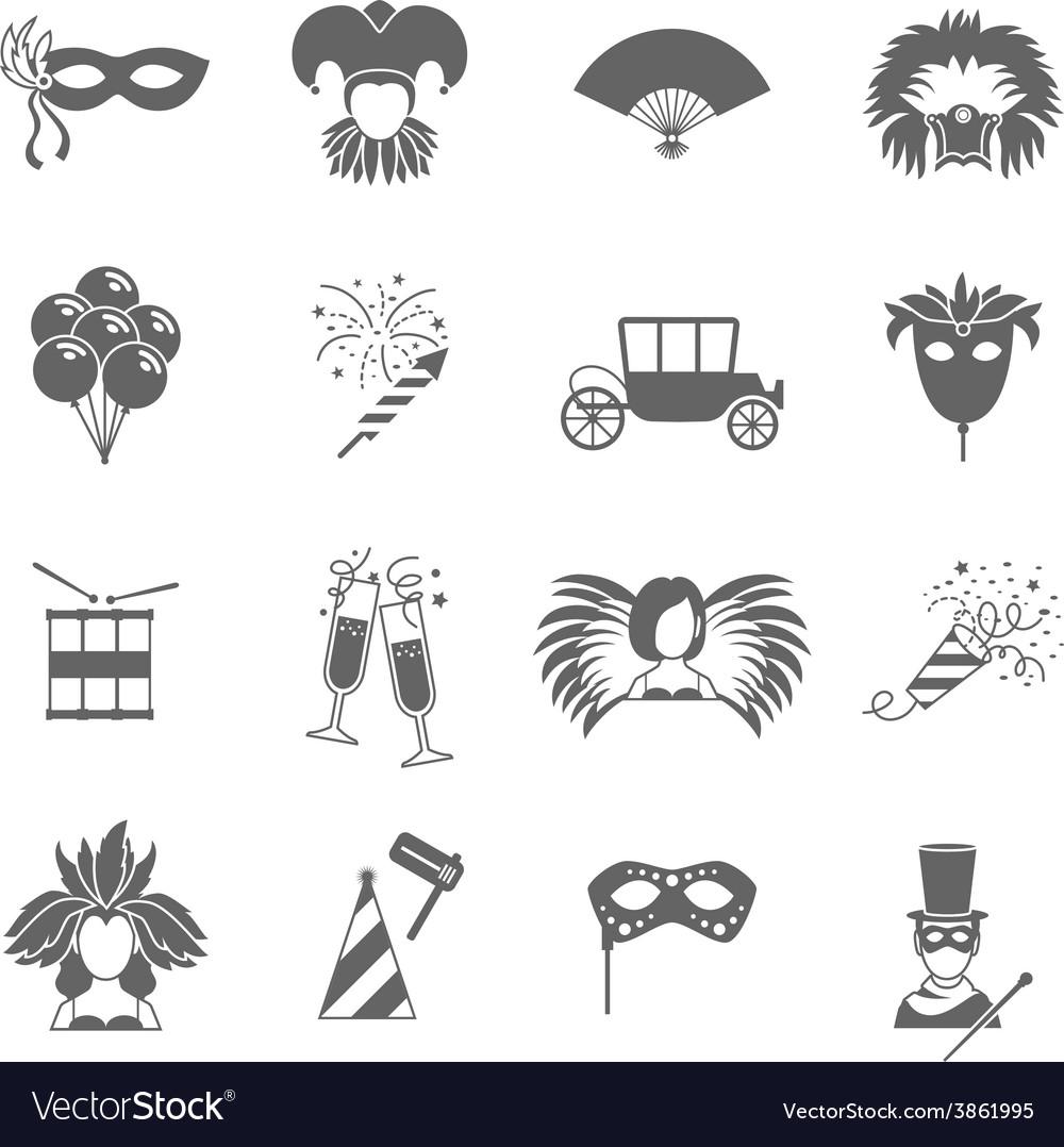 Carnival icons set black vector | Price: 1 Credit (USD $1)