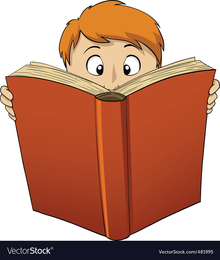 Cartoon boy reading big book vector | Price: 1 Credit (USD $1)