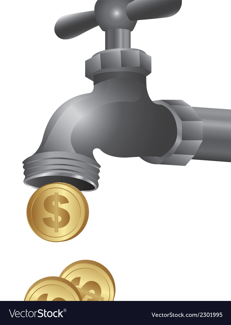 Conceptual of a tap dripping coins vector | Price: 1 Credit (USD $1)