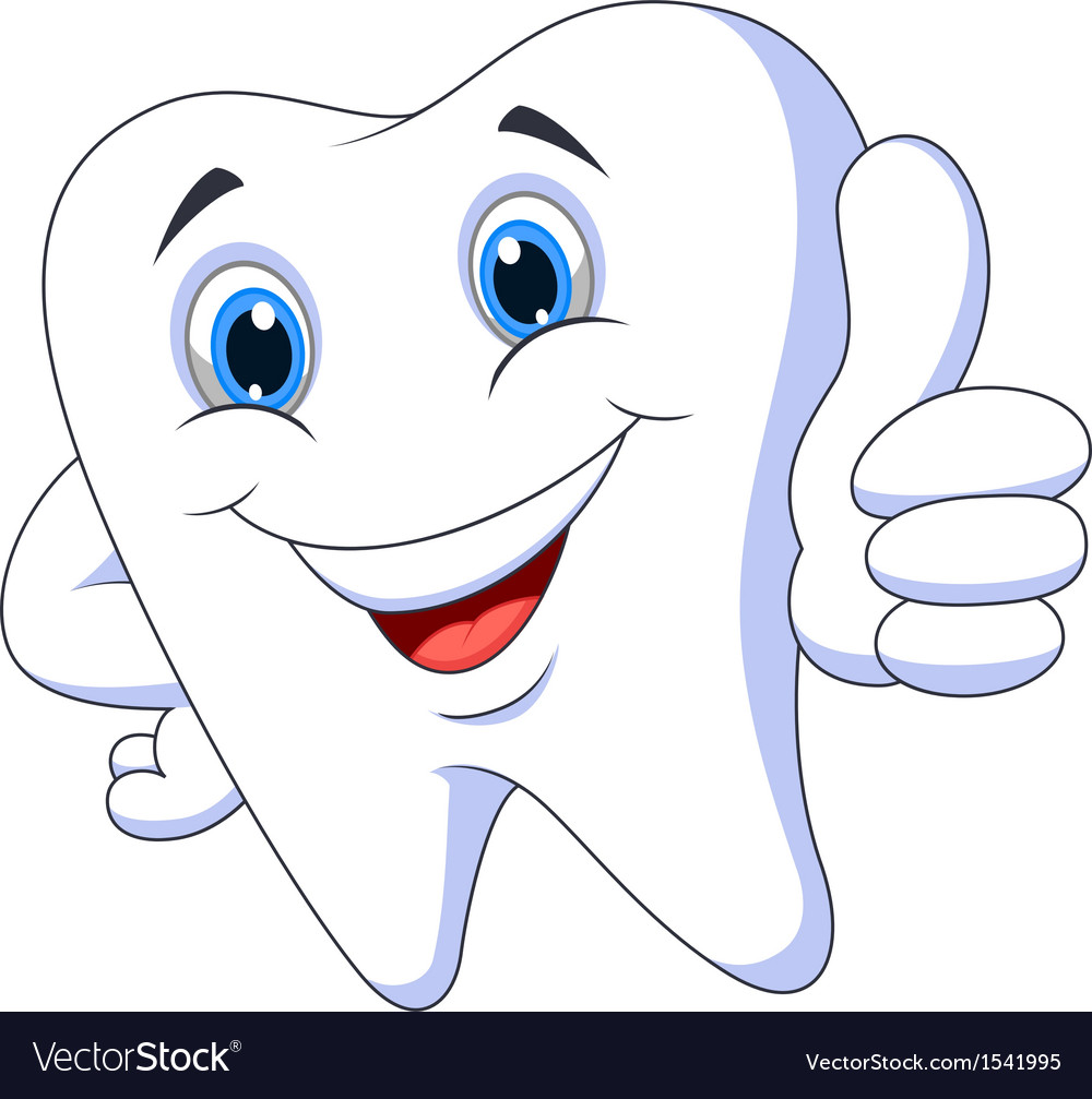 Cute cartoon tooth with thumb up vector | Price: 1 Credit (USD $1)