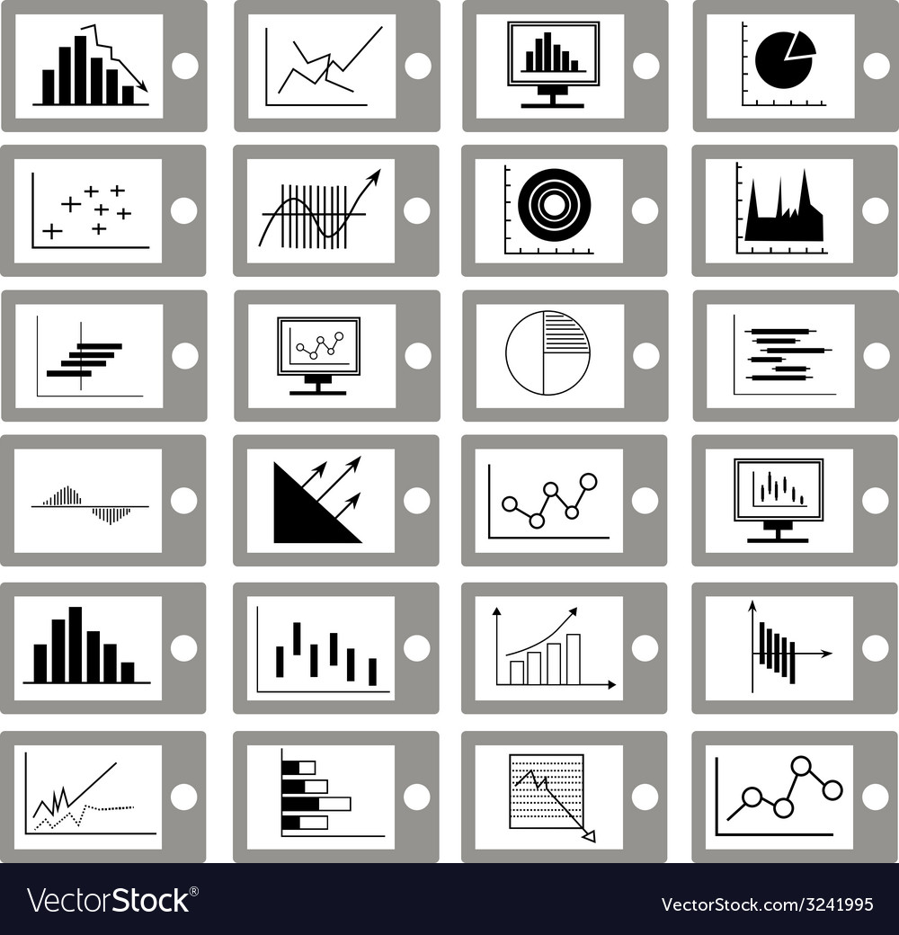 Graph and diagram for business icons vector | Price: 1 Credit (USD $1)