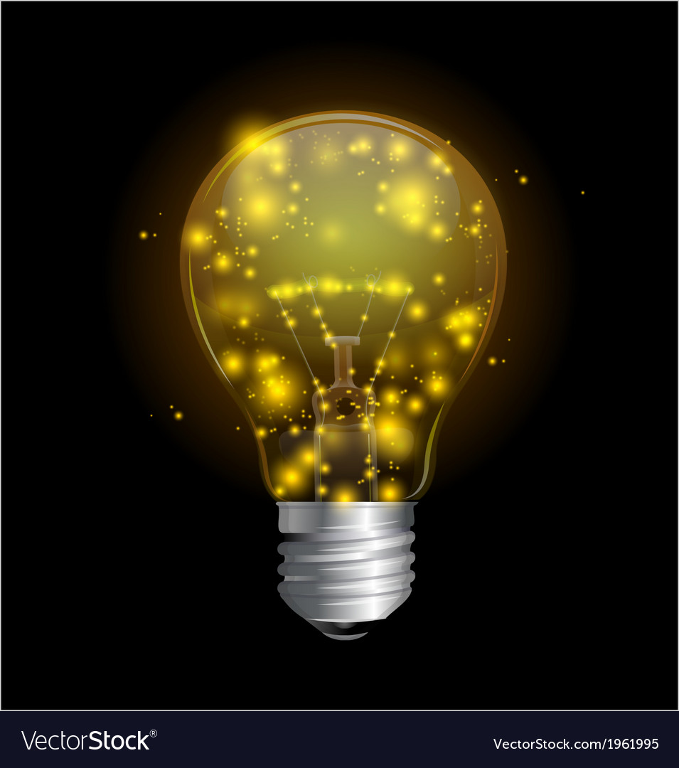 Light bulb and magic lights vector | Price: 1 Credit (USD $1)