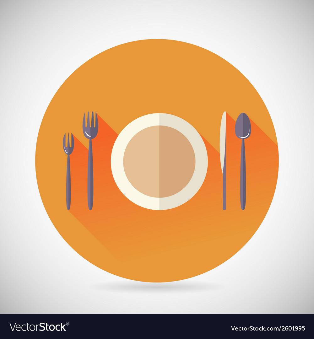 Restaurant cuisine meals symbol plate spoon fork vector | Price: 1 Credit (USD $1)