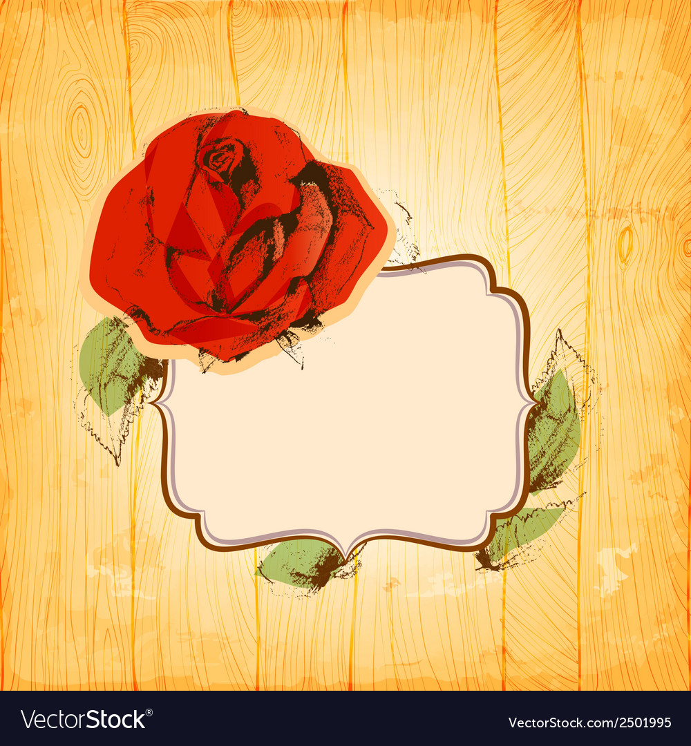 Rose frame over vintage wood texture background vector | Price: 1 Credit (USD $1)