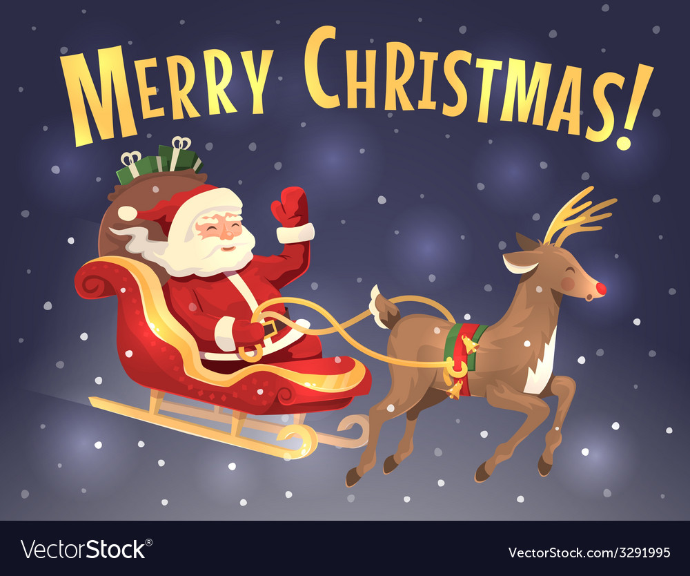 Santa sleigh and reindeer vector   Price: 3 Credit (USD $3)