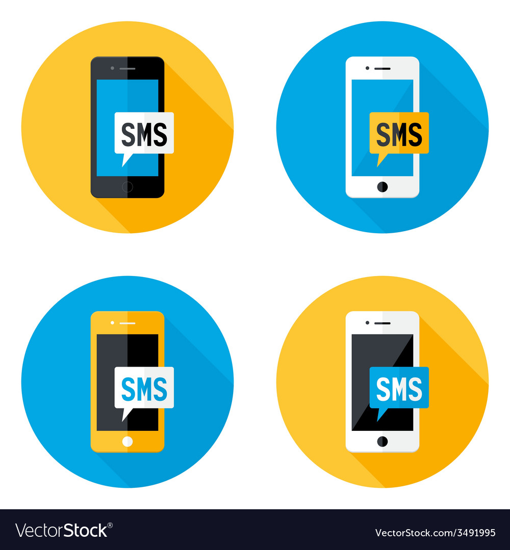 Sms mobile circle flat icons set vector | Price: 1 Credit (USD $1)