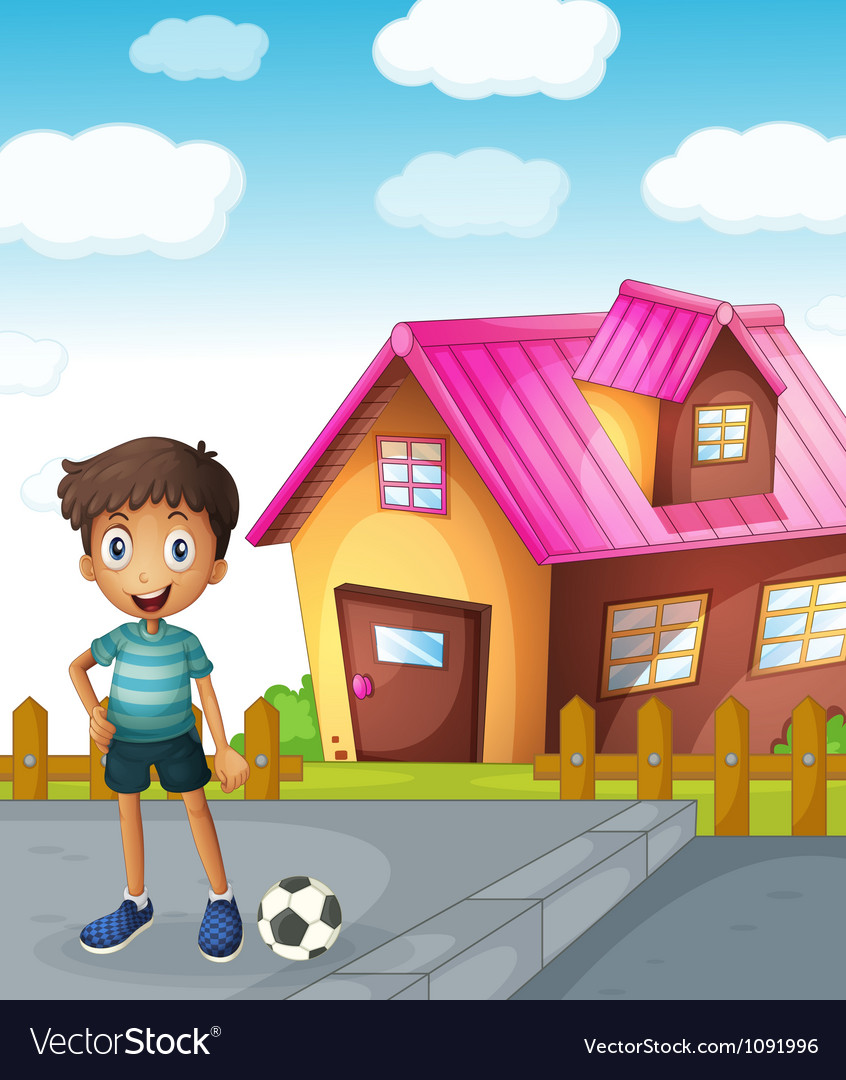 A boy football and house vector | Price: 1 Credit (USD $1)