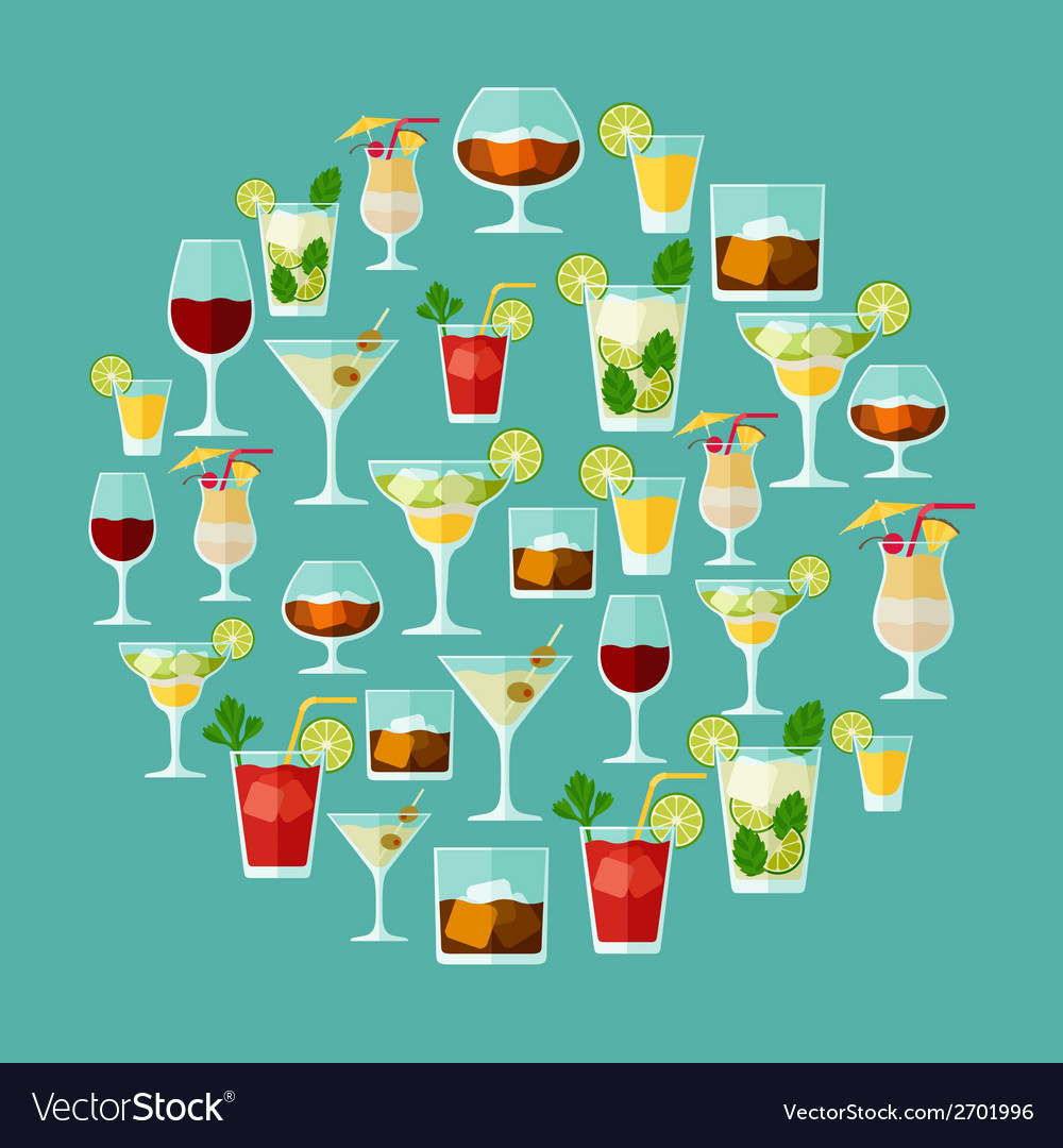 Alcohol drinks and cocktails for menu or wine list vector | Price: 1 Credit (USD $1)