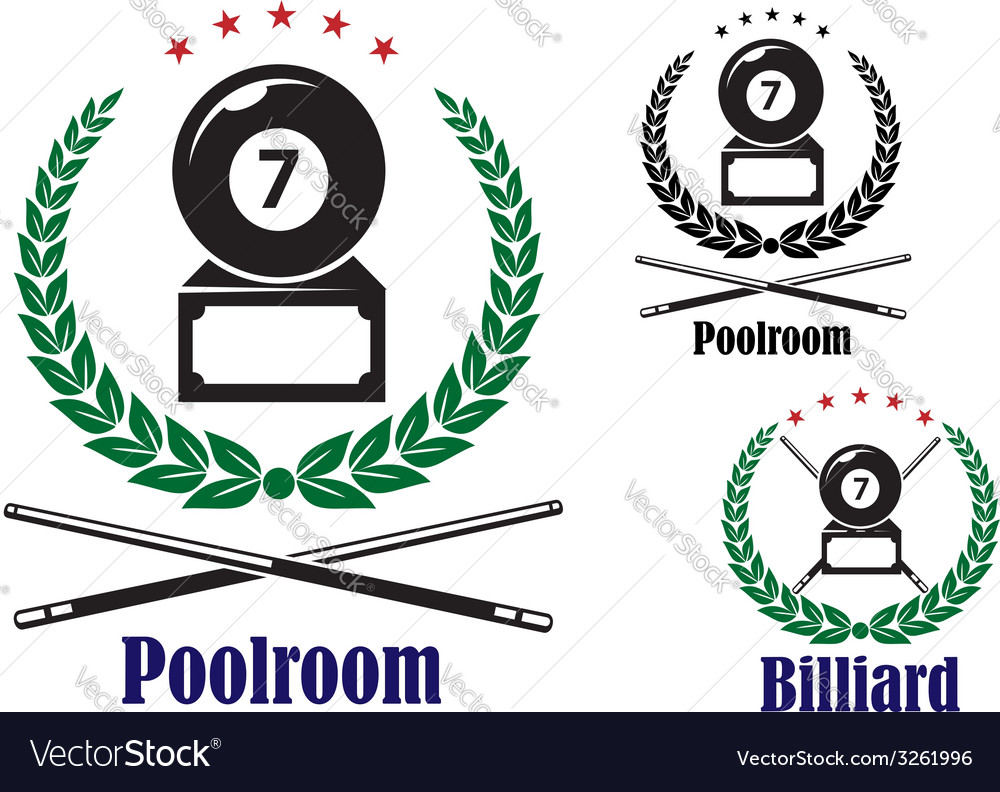 Billiard or pool badges or emblems vector | Price: 1 Credit (USD $1)