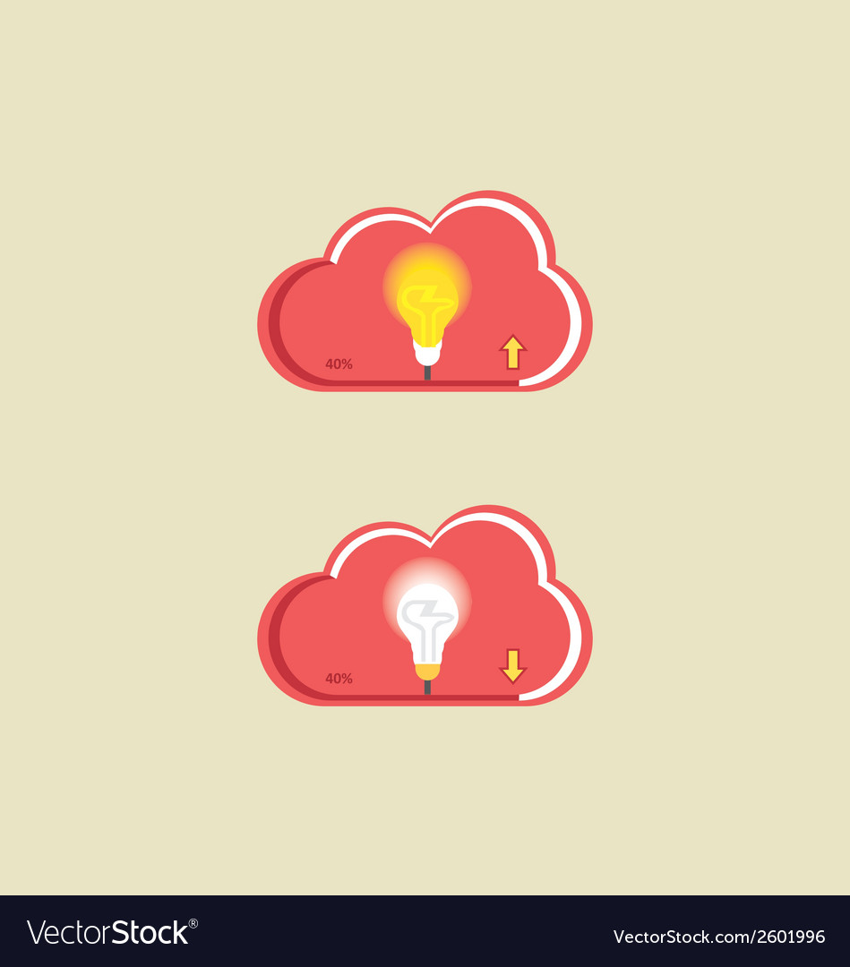 Cloud bulb download upload vector | Price: 1 Credit (USD $1)