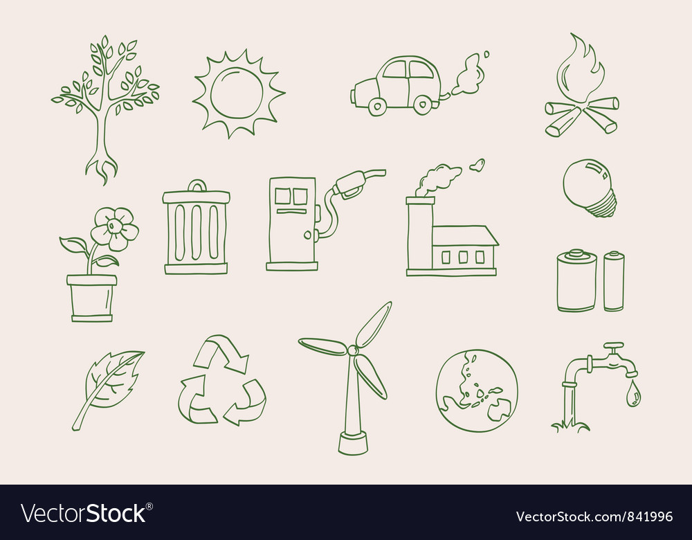 Environment doodle icons vector | Price: 1 Credit (USD $1)