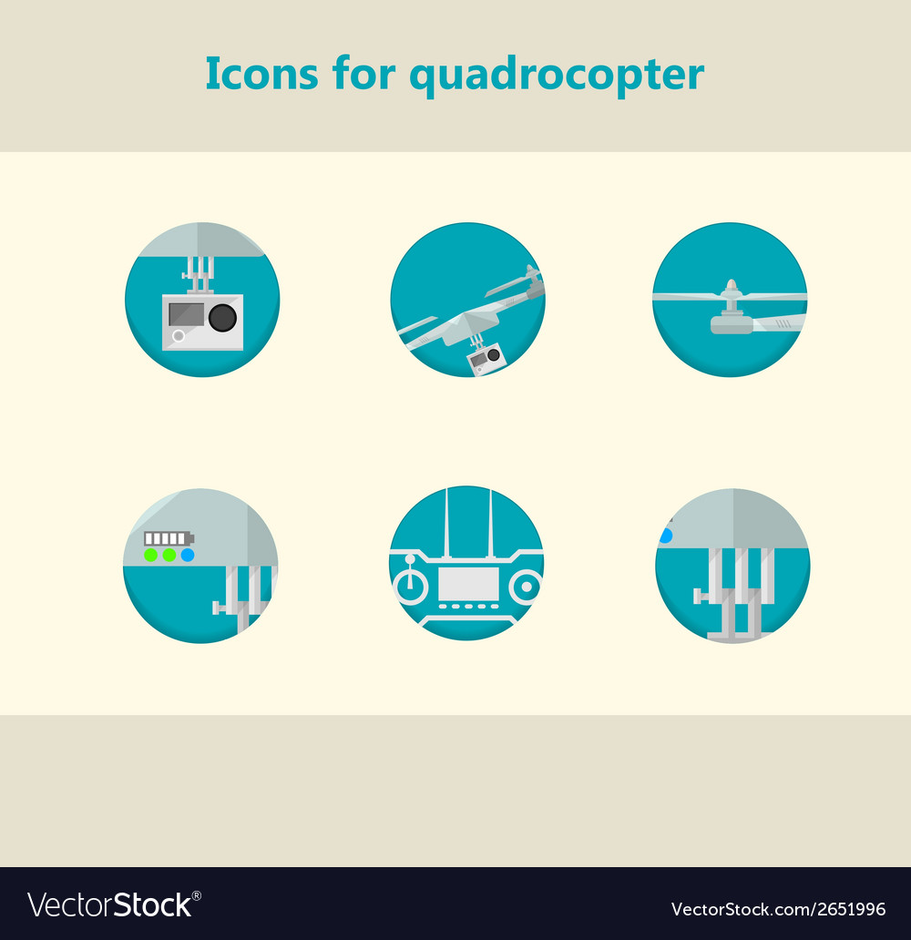 Flat circle icons for monitoring with quadrocopter vector | Price: 1 Credit (USD $1)