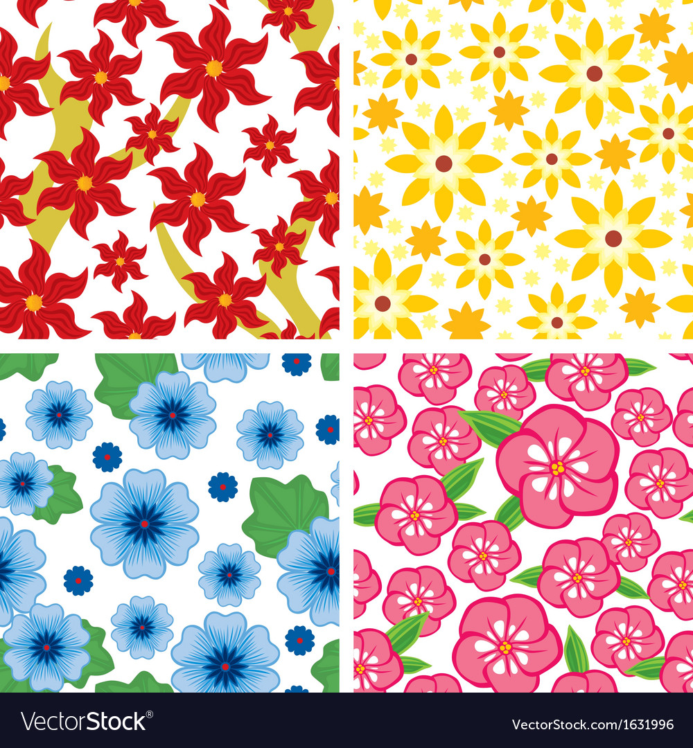 Flower pattern set vector | Price: 1 Credit (USD $1)