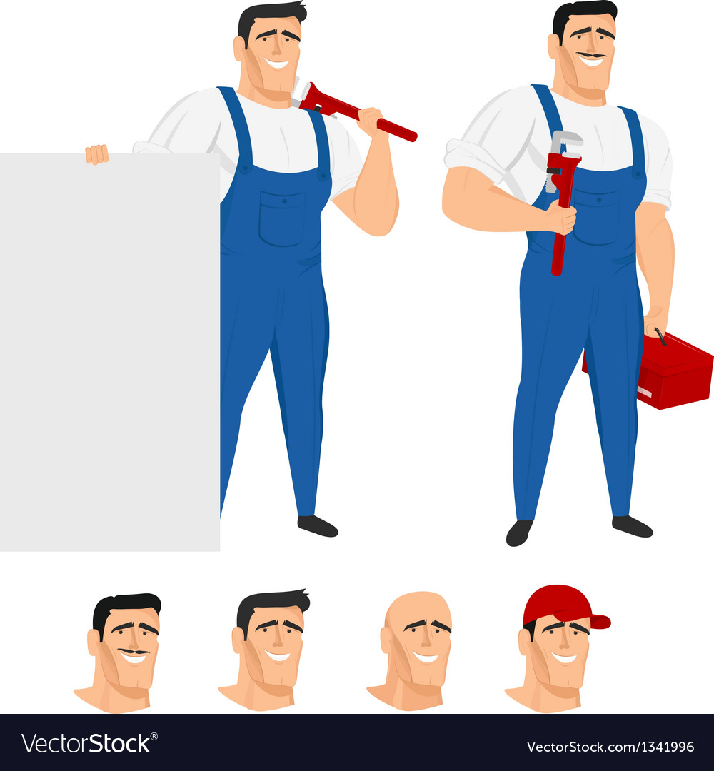 Funny plumber mascot in different poses vector | Price: 1 Credit (USD $1)