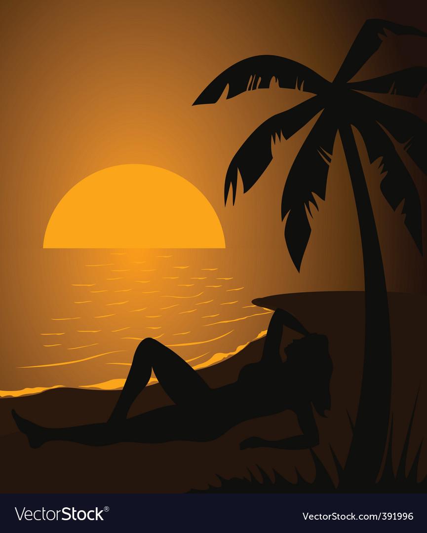Girl on a beach vector | Price: 1 Credit (USD $1)