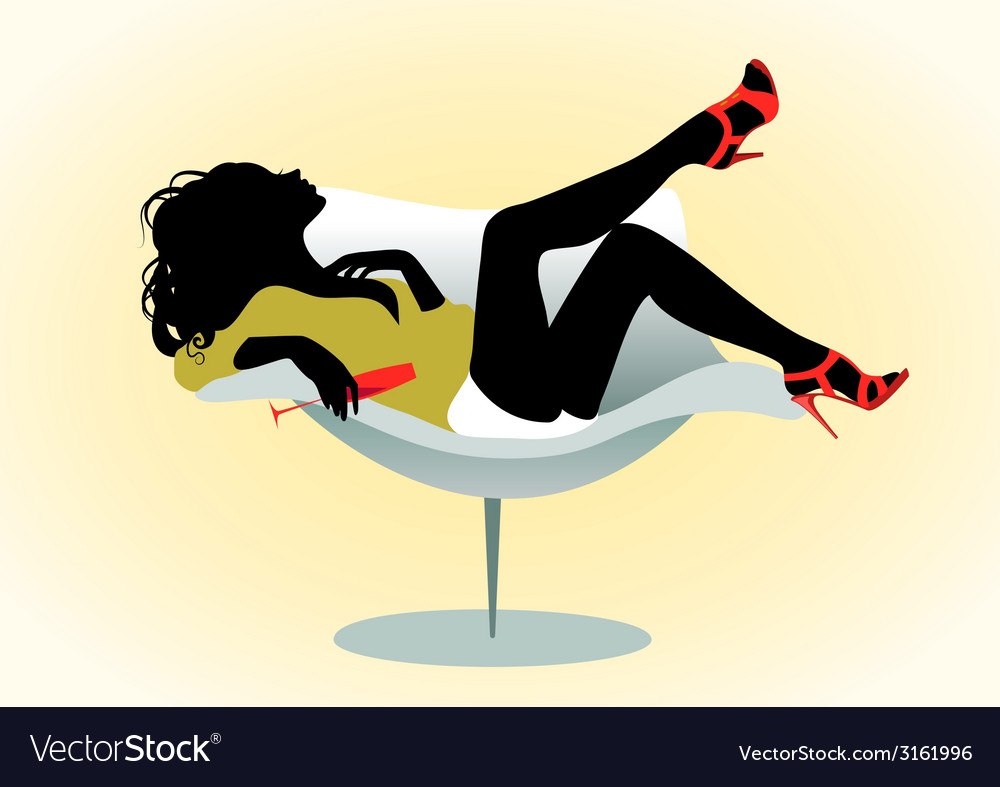Girl on chair with wineglass vector | Price: 1 Credit (USD $1)