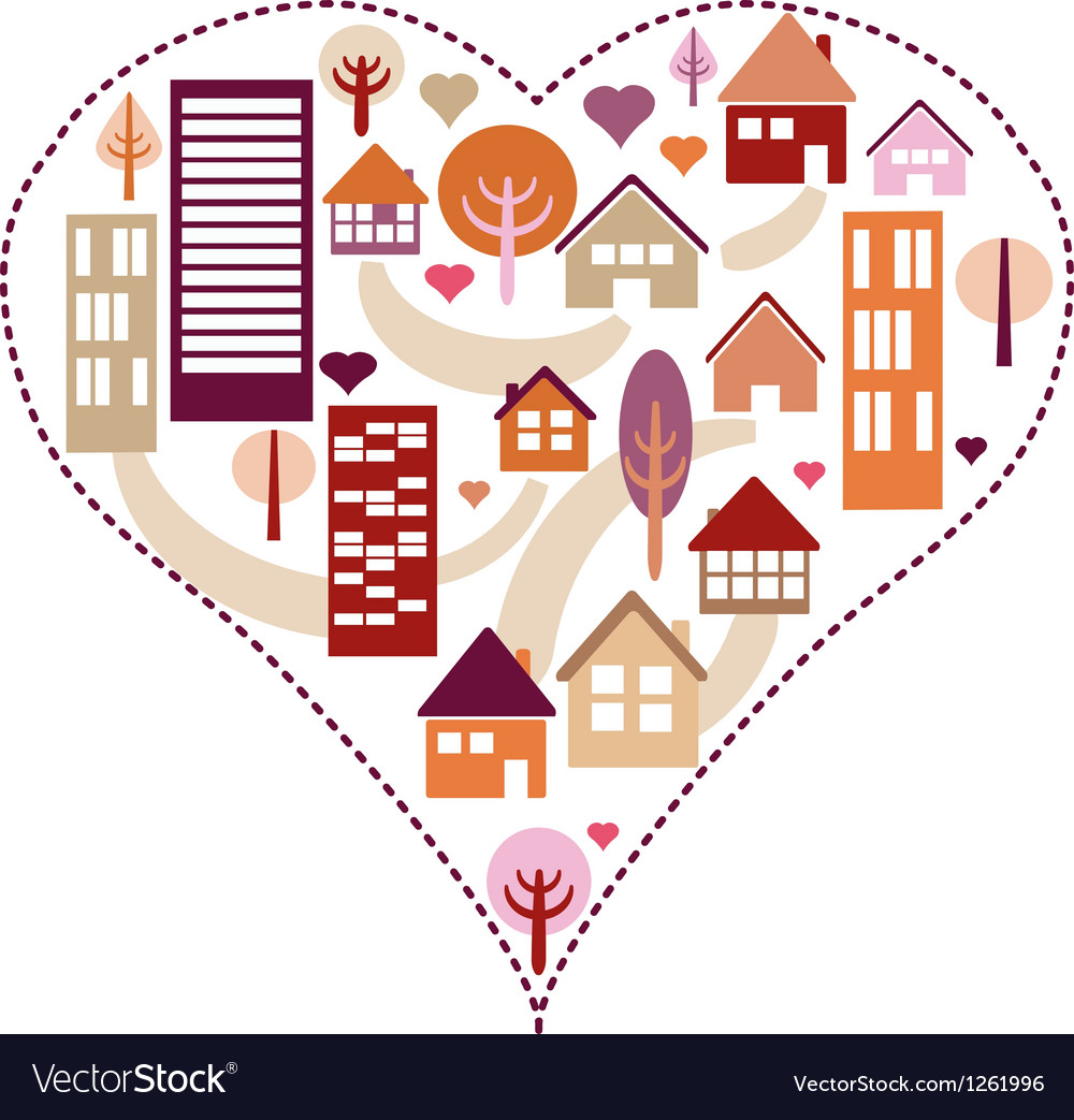 Heart pattern with different houses and trees vector | Price: 1 Credit (USD $1)