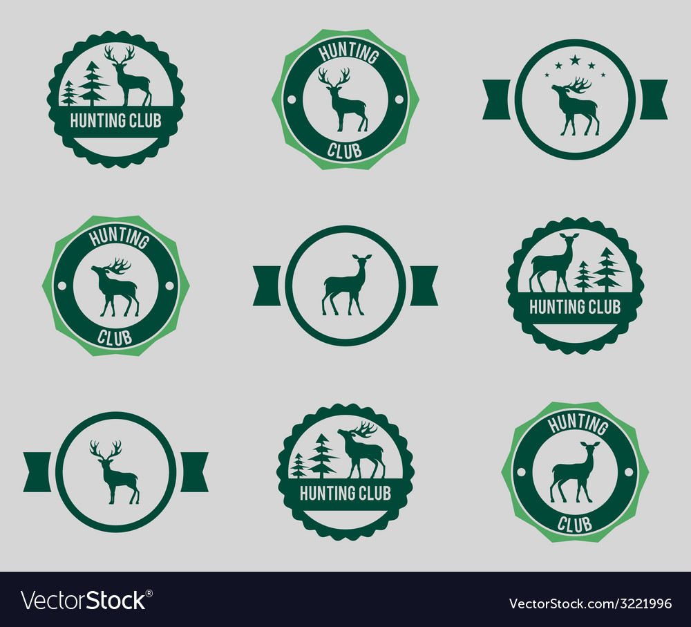 Hunting labels set vector | Price: 1 Credit (USD $1)