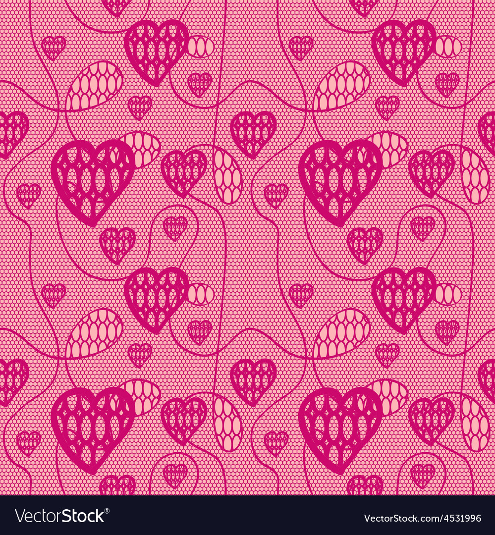 Lace seamless pattern with hearts vector | Price: 1 Credit (USD $1)