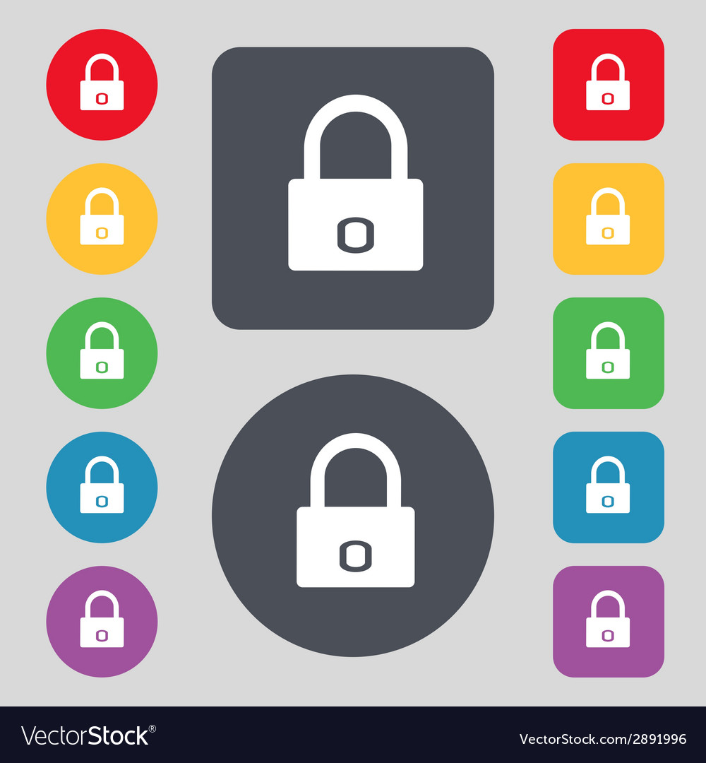 Lock sign icon locker symbol set colur buttons vector | Price: 1 Credit (USD $1)