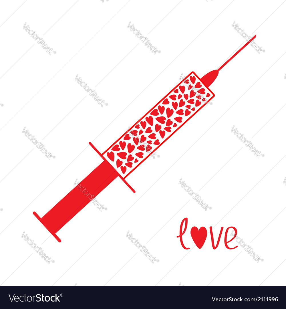 Medical syringe with red hearts inside love card vector | Price: 1 Credit (USD $1)