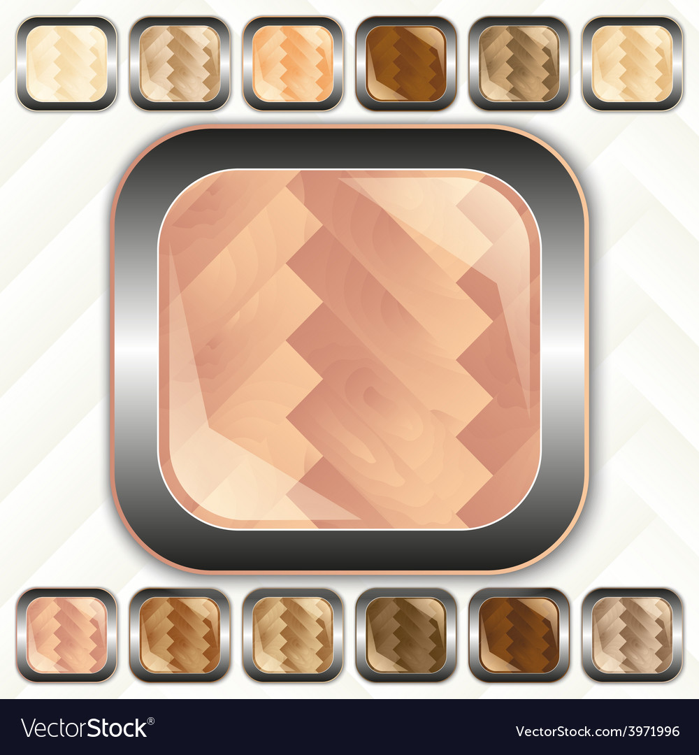 Parquet wooden set of buttons icons vector | Price: 1 Credit (USD $1)