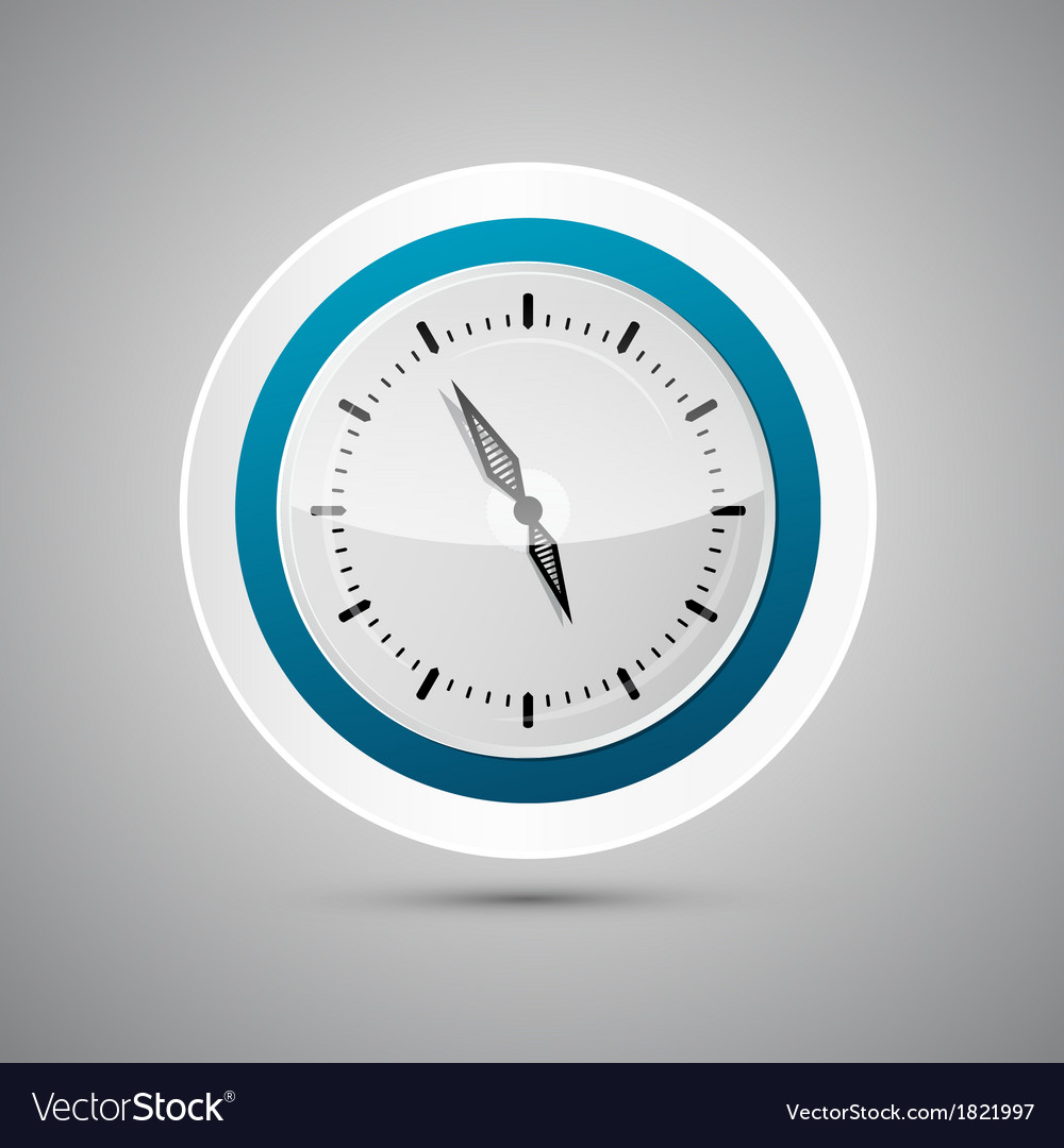 Abstract 3d paper blue and white clock vector | Price: 1 Credit (USD $1)