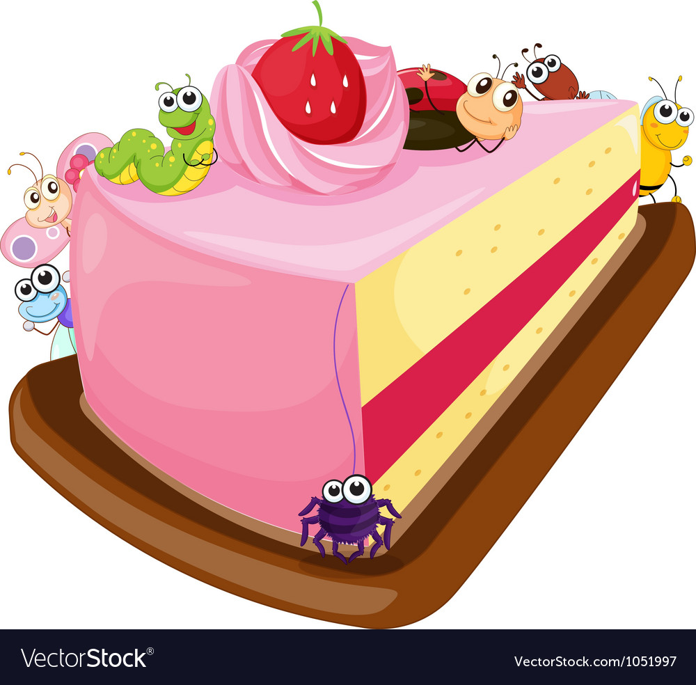 Cake and various insects vector   Price: 3 Credit (USD $3)