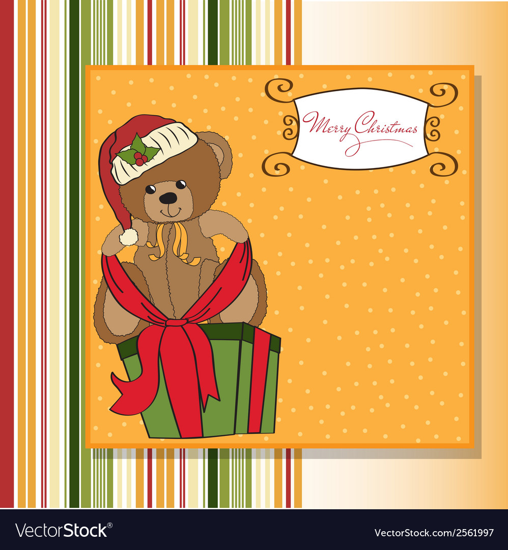 Cute teddy bear with a big christmas gift box vector | Price: 1 Credit (USD $1)