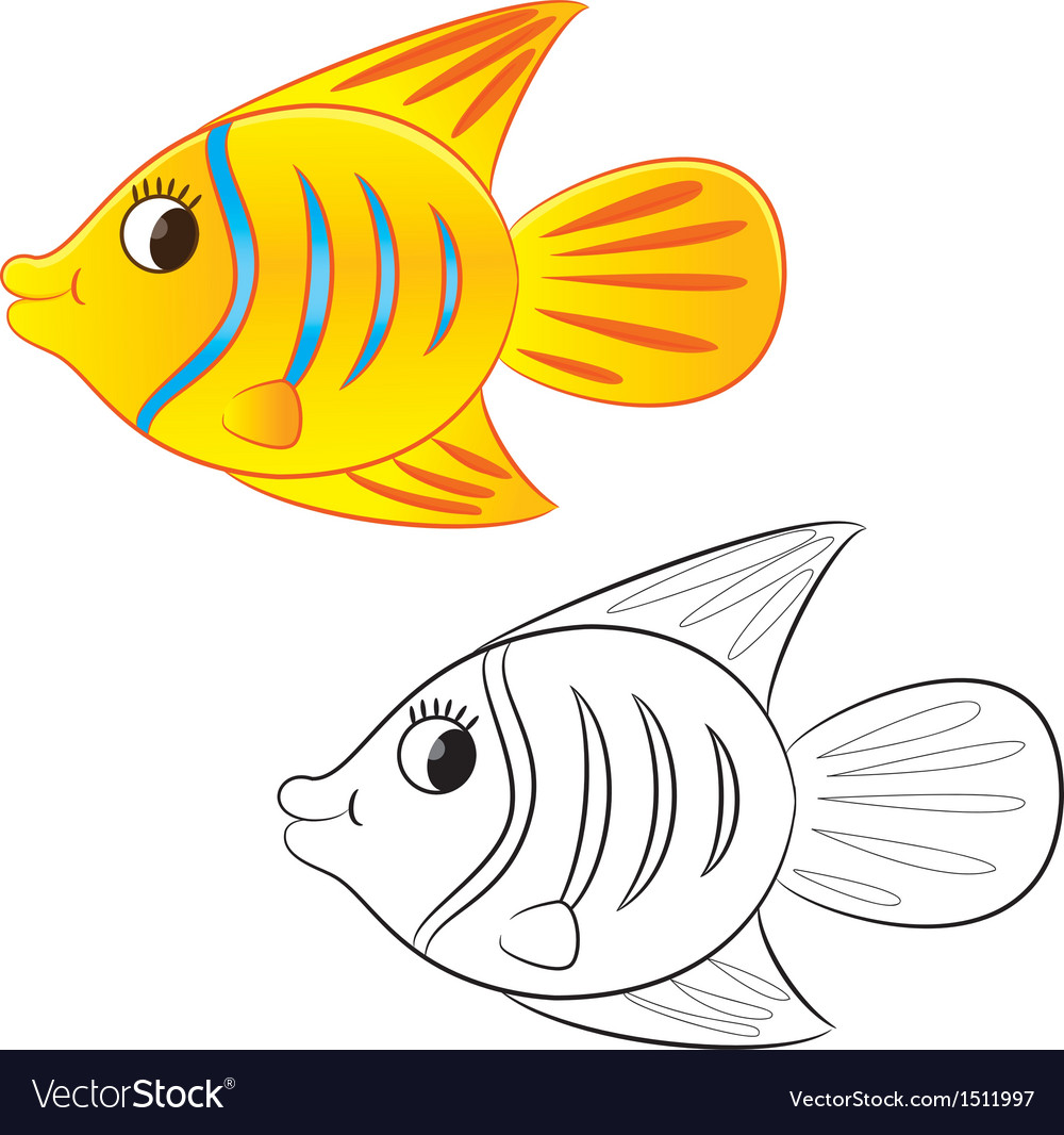 Fish coloring book vector | Price: 1 Credit (USD $1)
