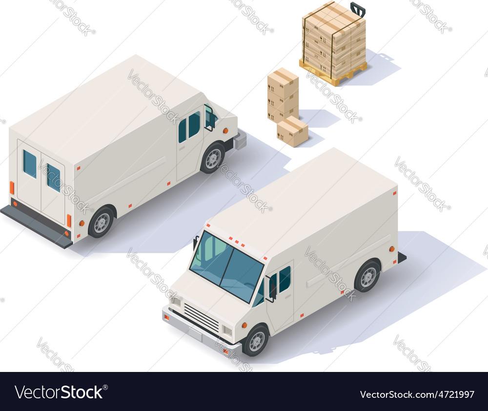 Isometric delivery van vector | Price: 1 Credit (USD $1)