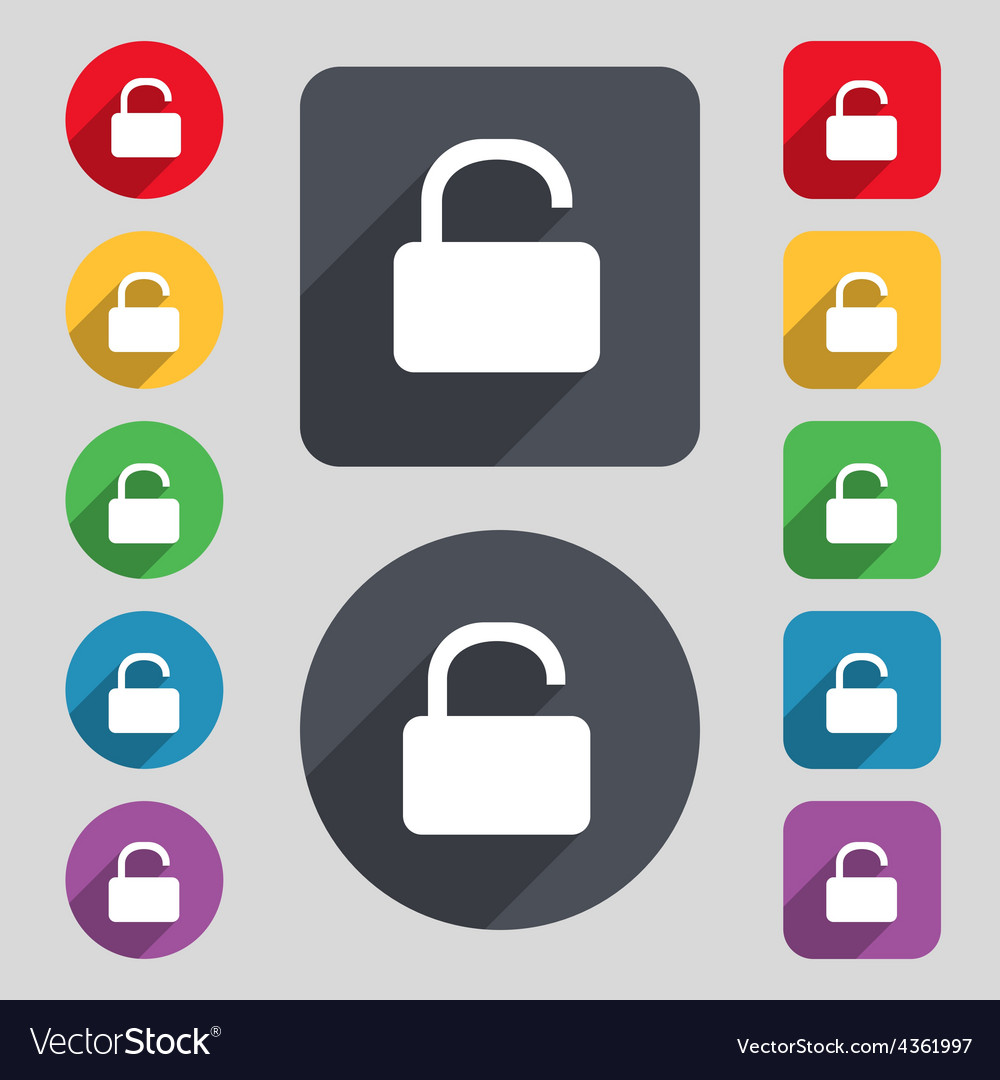 Open padlock icon sign a set of 12 colored buttons vector | Price: 1 Credit (USD $1)