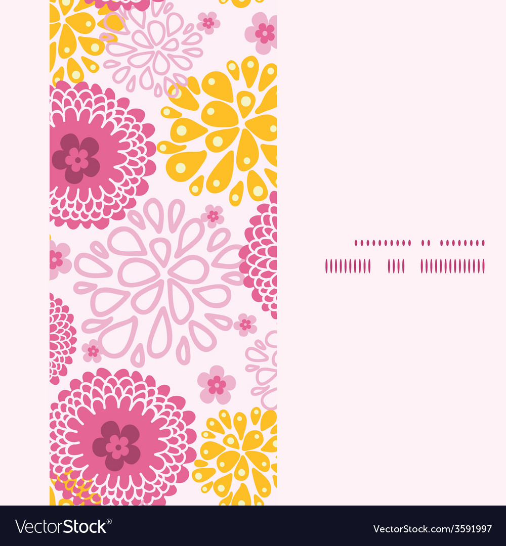 Pink field flowers vertical frame seamless pattern vector | Price: 1 Credit (USD $1)