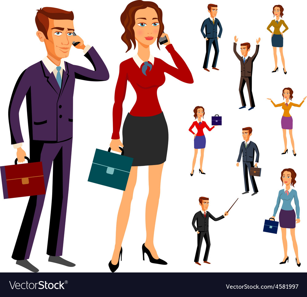 Set characters design office team man women vector | Price: 1 Credit (USD $1)