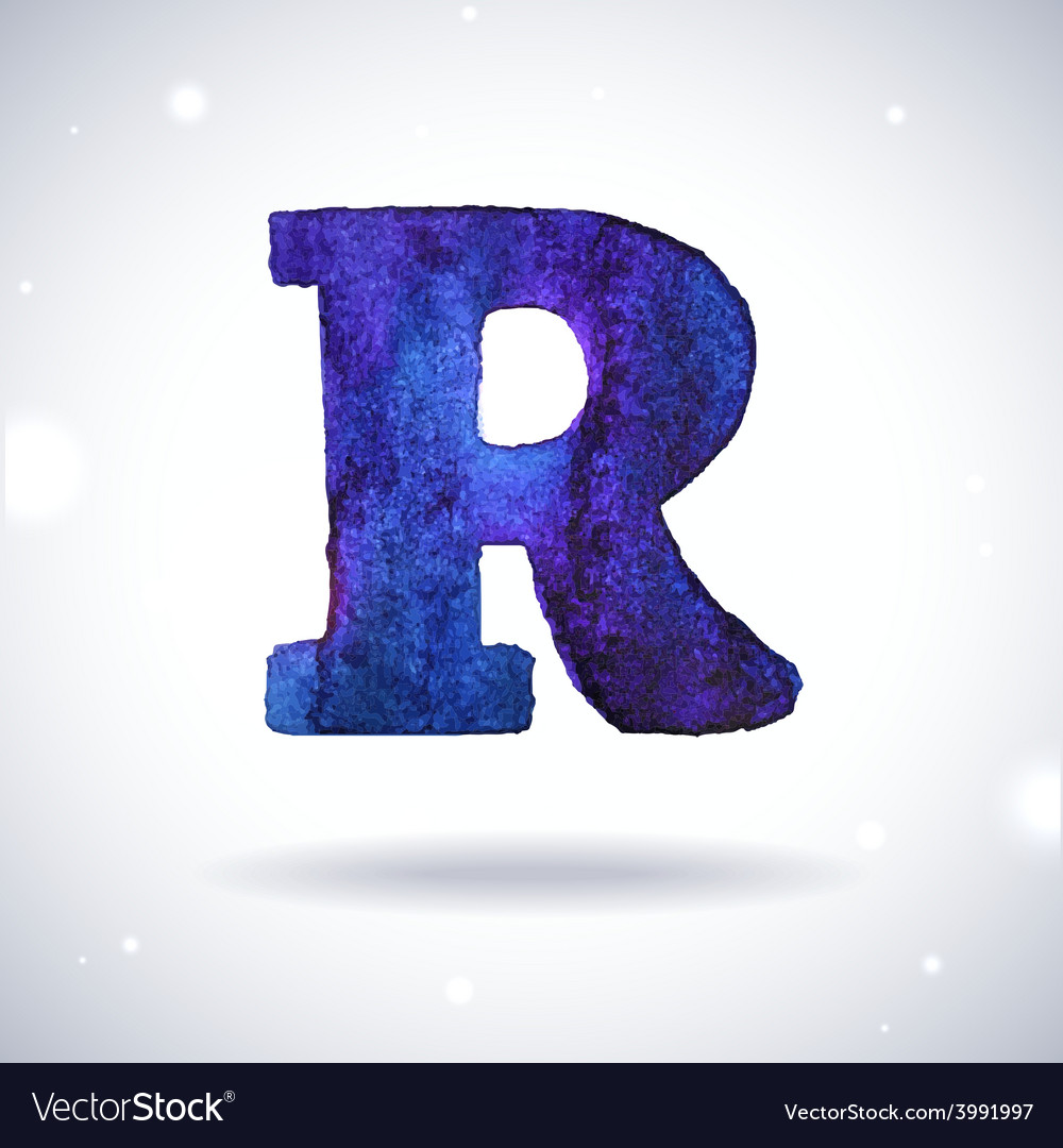 Watercolor letter r vector