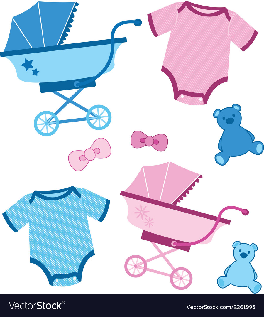 Blue and pink baby items for boys and girls vector | Price: 1 Credit (USD $1)